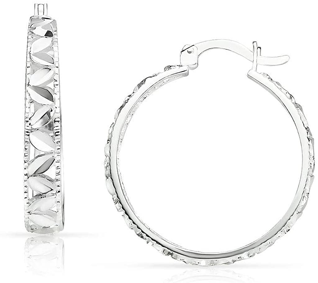 SolidSilver - Sterling Silver Hoop Earrings with a Sparkling Filigree Diamond Cut Leaf Design