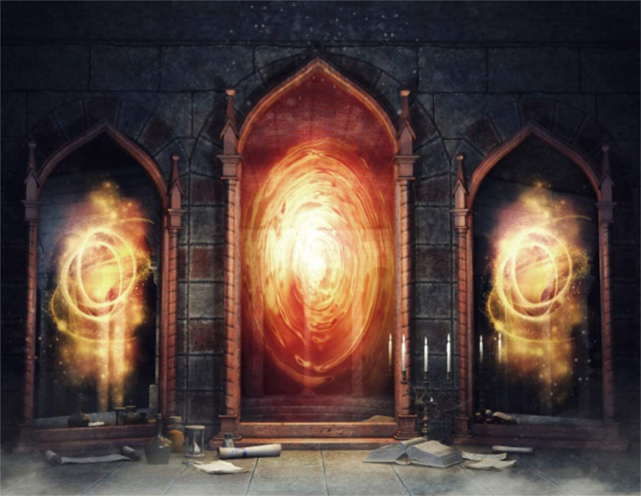 Laeacco Backdrop 12x9ft Vinyl Photography Background Dark Chamber with Magic Mirrors Books and Scrolls Backdrop Candle Spooky Night Castle Arch Door Flame Backdrop Photo Portrait Shoot Video Prop