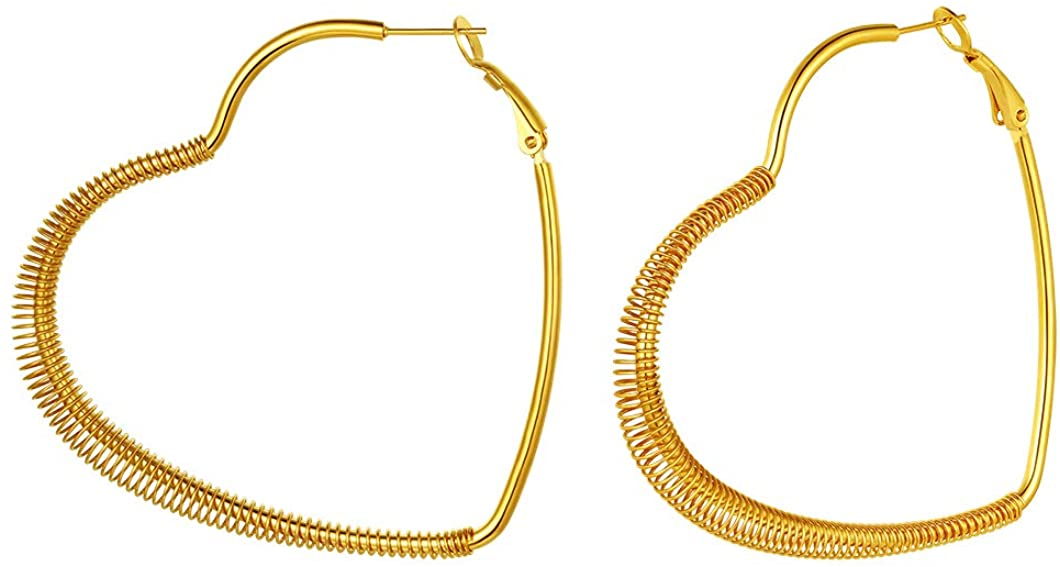 Fashion Circle/Star/Heart Hoop Earrings for Women Stainless Steel/18K Gold/Black Plated Earrings for Womens Sensitive Ears(with Gift Box)