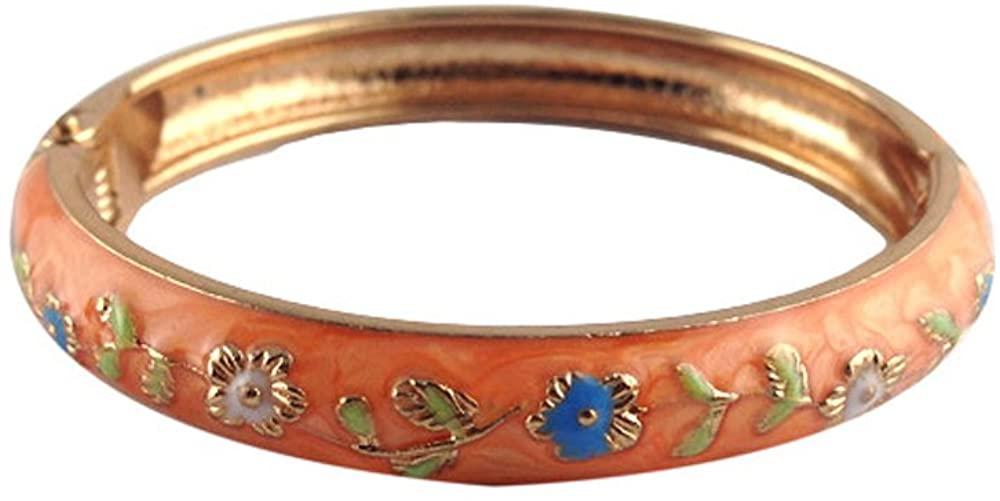 UJOY Girls Baby Bracelets 2.04'' 1.96'' Enamel Jewelry Flower Cloisonne Bangle Gift Box 55D24