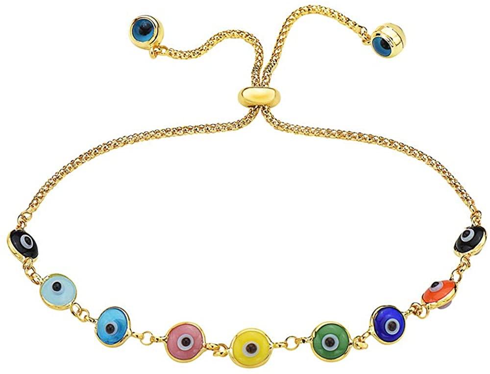 Pori Jewelers 14K Solid Gold Evil Eye Adjustable Charm Bracelets - Multiple Colors Available
