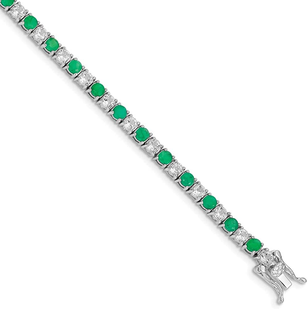 925 Sterling Silver Green Emerald White Topaz Tennis Bracelet 7 Inch Gemstone Add?a? Fine Jewelry For Women Gifts For Her