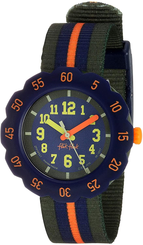 Flik Flak Kids' Camping Quartz Polyester Strap, Green, 16 Casual Watch (Model: ZFPSP021)
