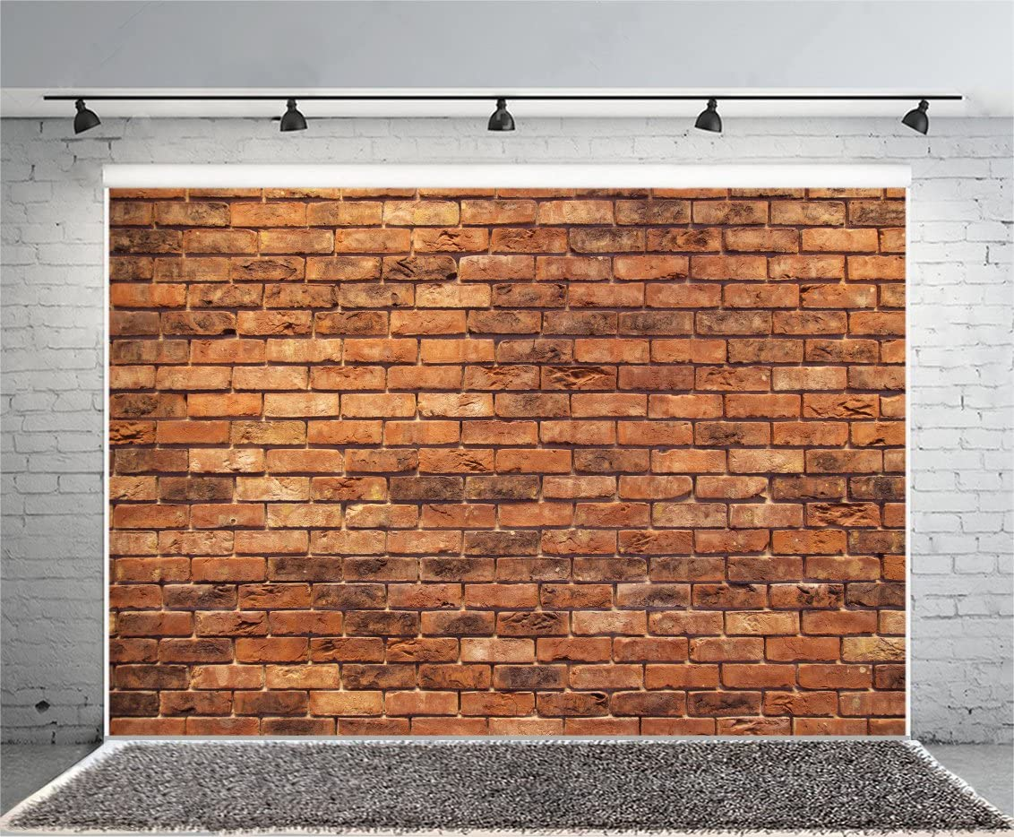 Yeele 5x3ft Retro Brick Backdrop Vinyl Cloth Vintage Brown Brick Wall Texture Photography Background Party Booth Banner Newborn Baby Adult Portrait Wallpaper Photo Video Shooting Studio Props