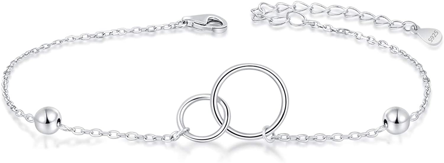 BEILIN Sterling Silver Two Interlocking Infinity Love Forever Togehter Adjustable Bracelet Summer Jewelry Gifts for Women Ladies Girls
