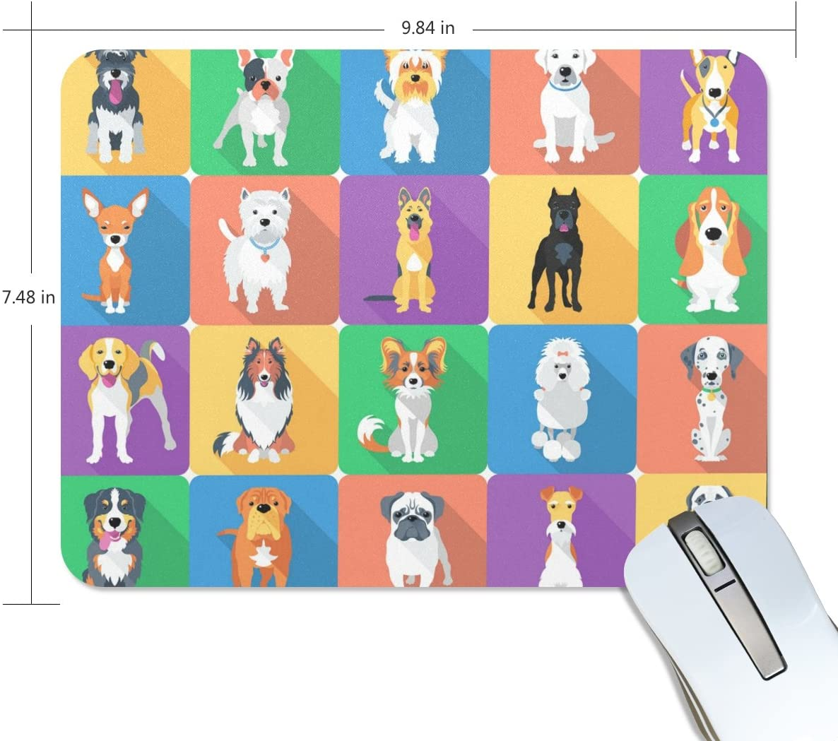 ALAZA Colorful Funny Dog Set Non-Slip Rubber Decorate Gaming Mouse Pad 9.84 x 7.48 inch