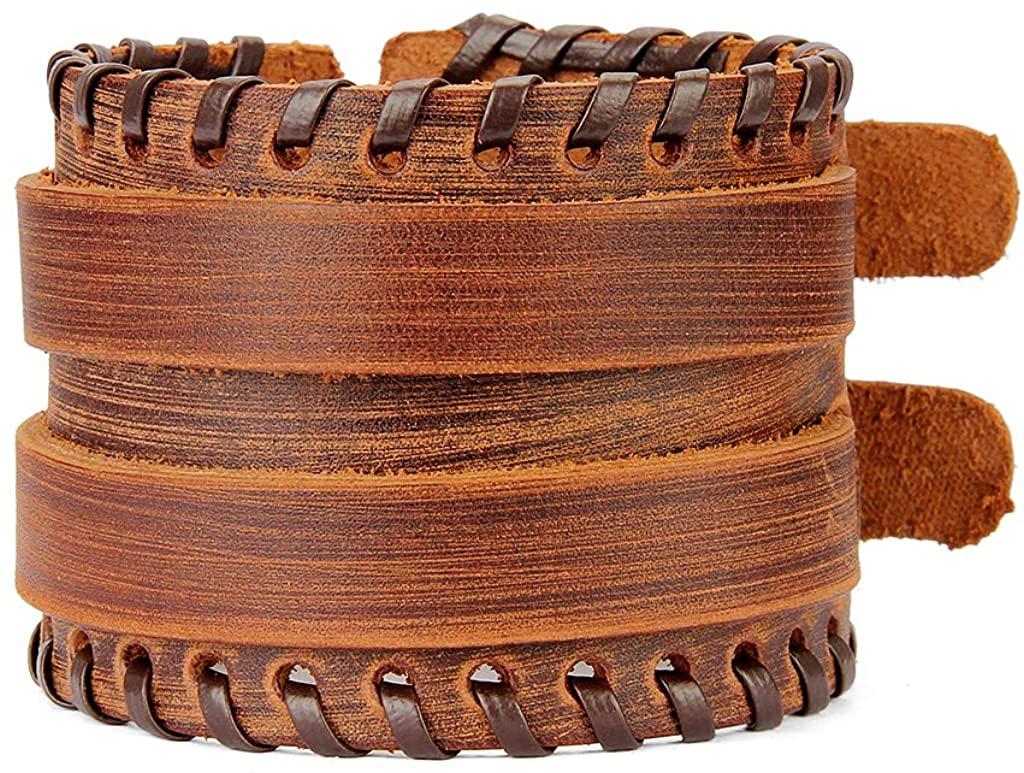 GelConnie Punk Leather Cuff Bracelet Adjustable Straps Wrap Bracelets Arm Armor Cuff Gothic Leather Wristbands for Men, Women