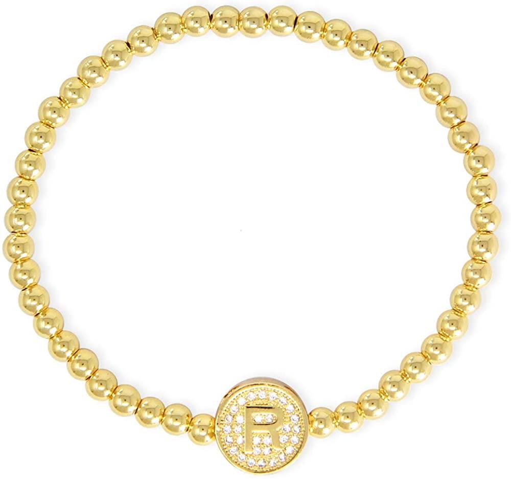 Me Plus Fashion Women Teen Girls Stainless Steel Disc Pendant Charm W/Rhinestone Gold Silver Initial 26 Letters Alphabet Bracelets