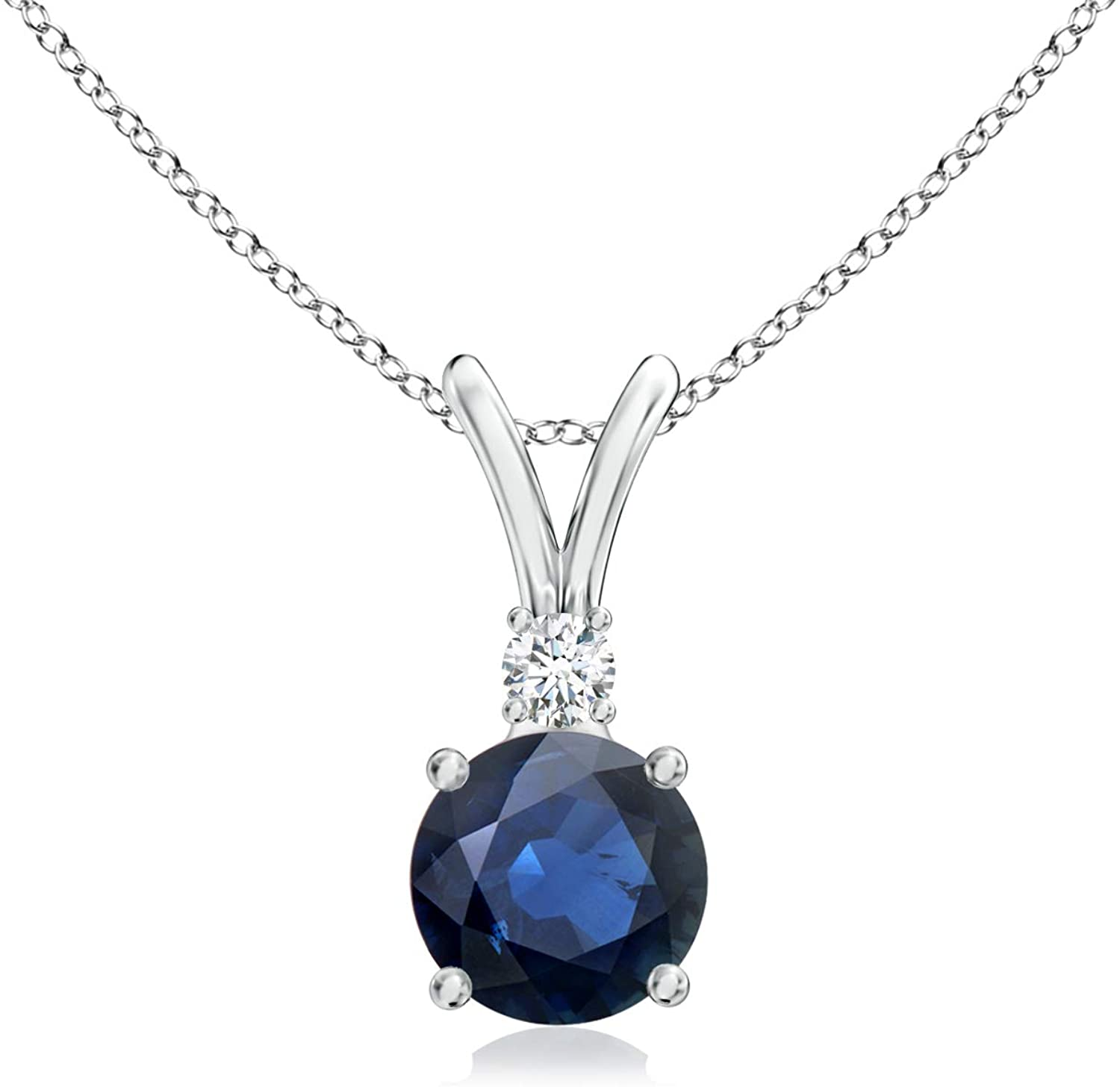 September Birthstone - Round Blue Sapphire V-Bale Pendant Necklace with Diamond in 14K White Gold (5mm Blue Sapphire)