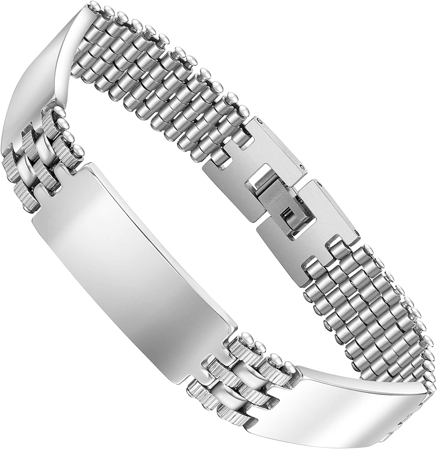 Men's Stainless Steel Link Bracelet – Slim Interlocking Steel Panel Design For Engraving in a Polished Silver Finish (Silver, 8.3 inch (21cm))