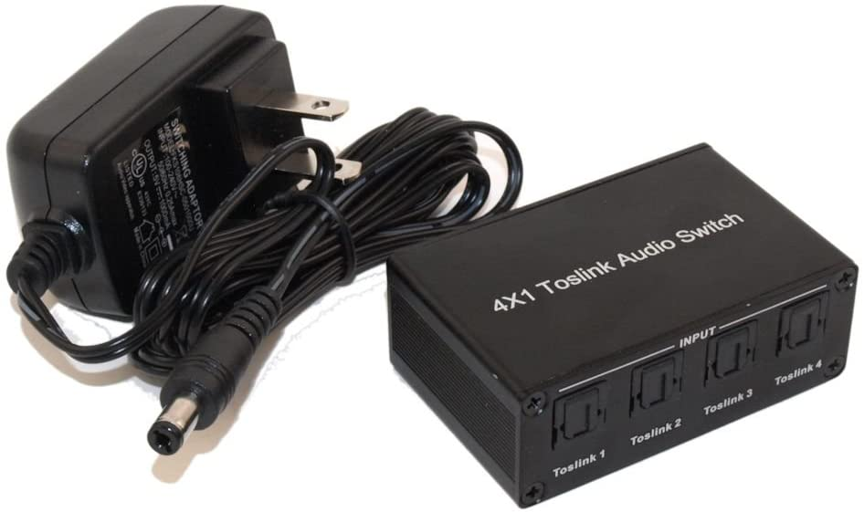 MyCableMart Toslink Switch, Powered, 4 Port (in), 1 Port (Out) with Slider Switch