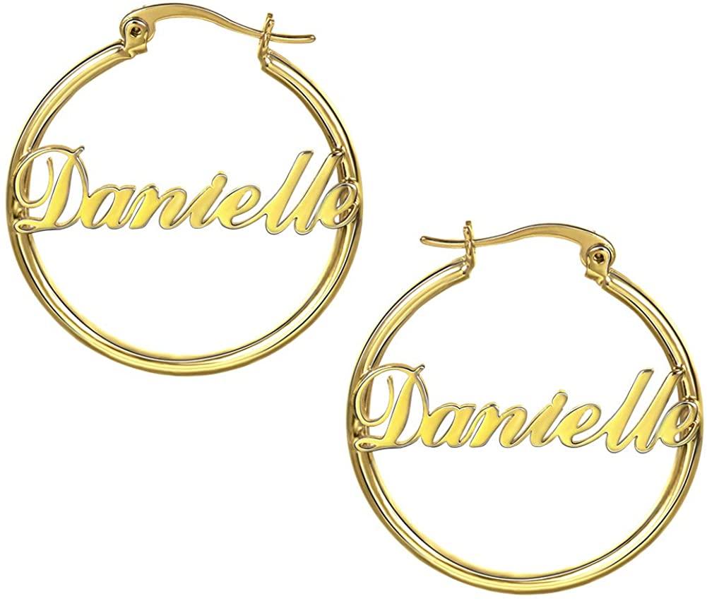 Personalized Custom Name Hoop Earrings 18K Gold Plated Personalized Any Name Earrings Jewelry Gift for Women Girls