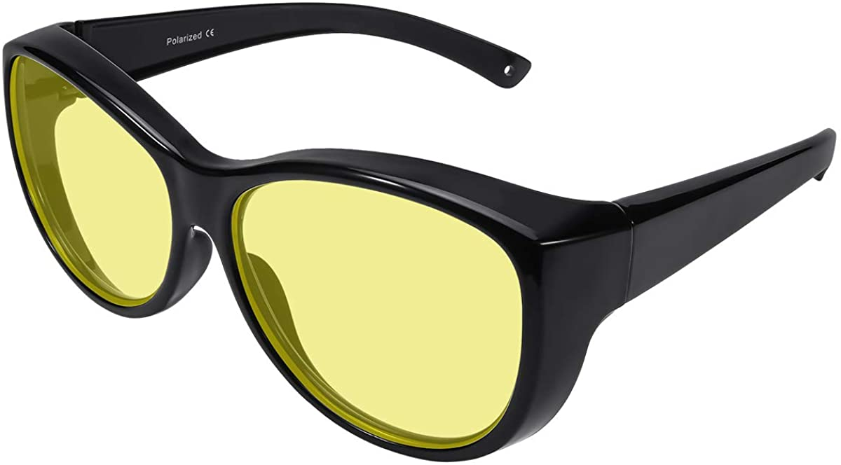 Br'Guras Oversized Night Driving Glasses Fit Over Prescription Glasses for Man Woman with HD Polarized Yellow Lens