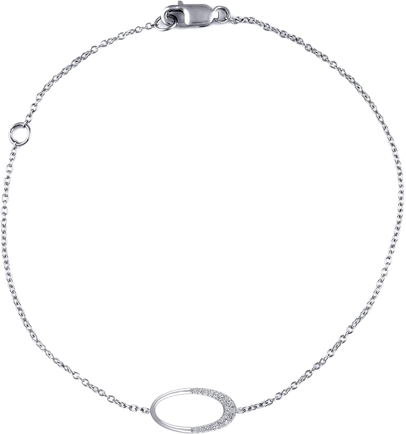 14K White Gold 1/10 Carat (G-H Color, SI2-I1 Clarity) Natural Diamond Bracelet with Accented Oval for Women