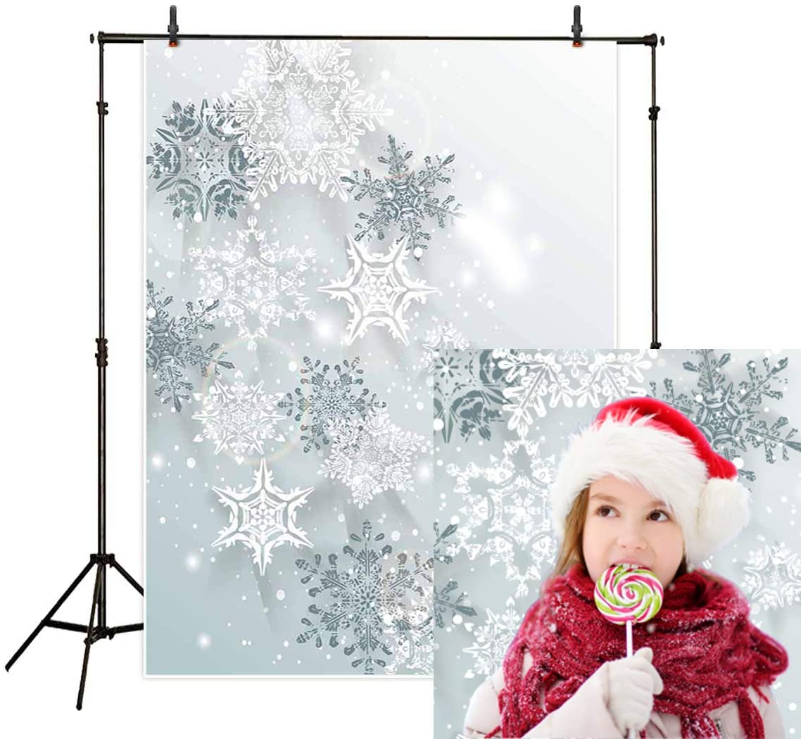 Allenjoy 5x7ft Winter Backdrop Snowflakes Three-Dimensional ice Crystal Photography Backdrop for Baby Shower Photo Studio Props