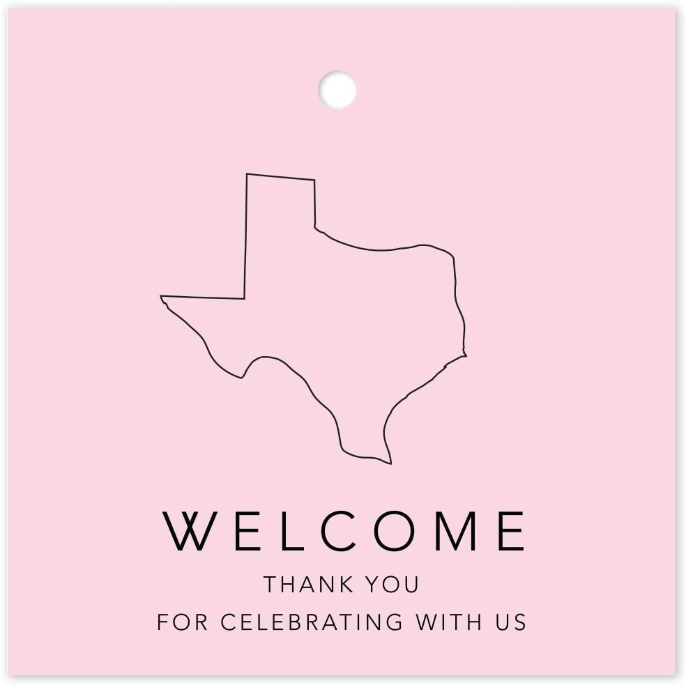 Andaz Press OOT Out of Town Wedding Gift Favor Bag Tags, 2-inch Square, Blush Pink, Texas, Welcome, Thank You for Celebrating with US, 24-Pack