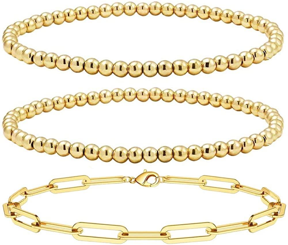 Reoxvo 18K Gold Plated Stainless Steel Gold Beaded Ball Bracelets for Women Stackable Stretch Elastic Bracelet