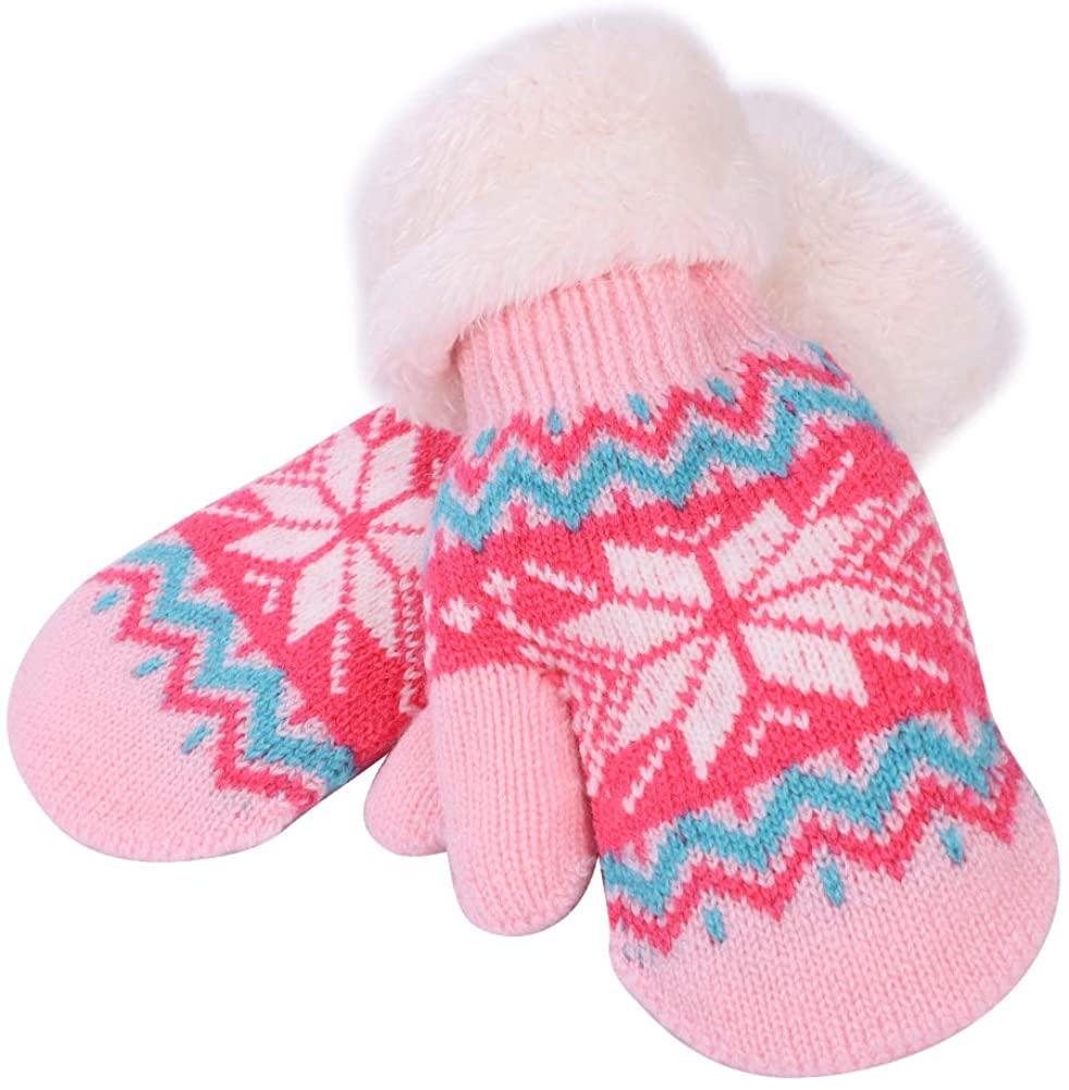 Kids Warm Gloves Knitted Soft Lined Hand Full Finger Wrist Children Mitten