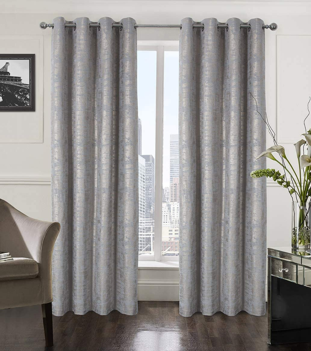 Alexandra Cole Soft Velvet Curtains 63 Inches Length Luxury Room Darkening Bedroom Curtains Gold Foil Print Window Curtains for Living Room Set of 2 Silver