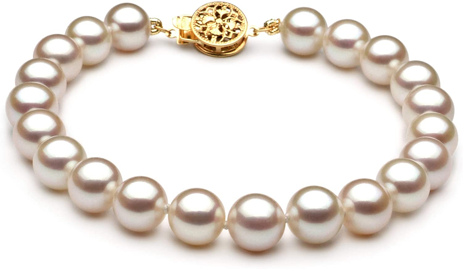 White 7-8mm AAA Quality Freshwater Gold filled Cultured Pearl Bracelet For Women