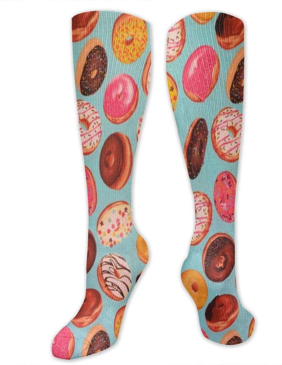 Compression Socks for Women Men Nurses Runners - Best Medical Stocking for Travel, Maternity, Running, Athletic, Varicose Veins - Delicious Doughnuts Donuts