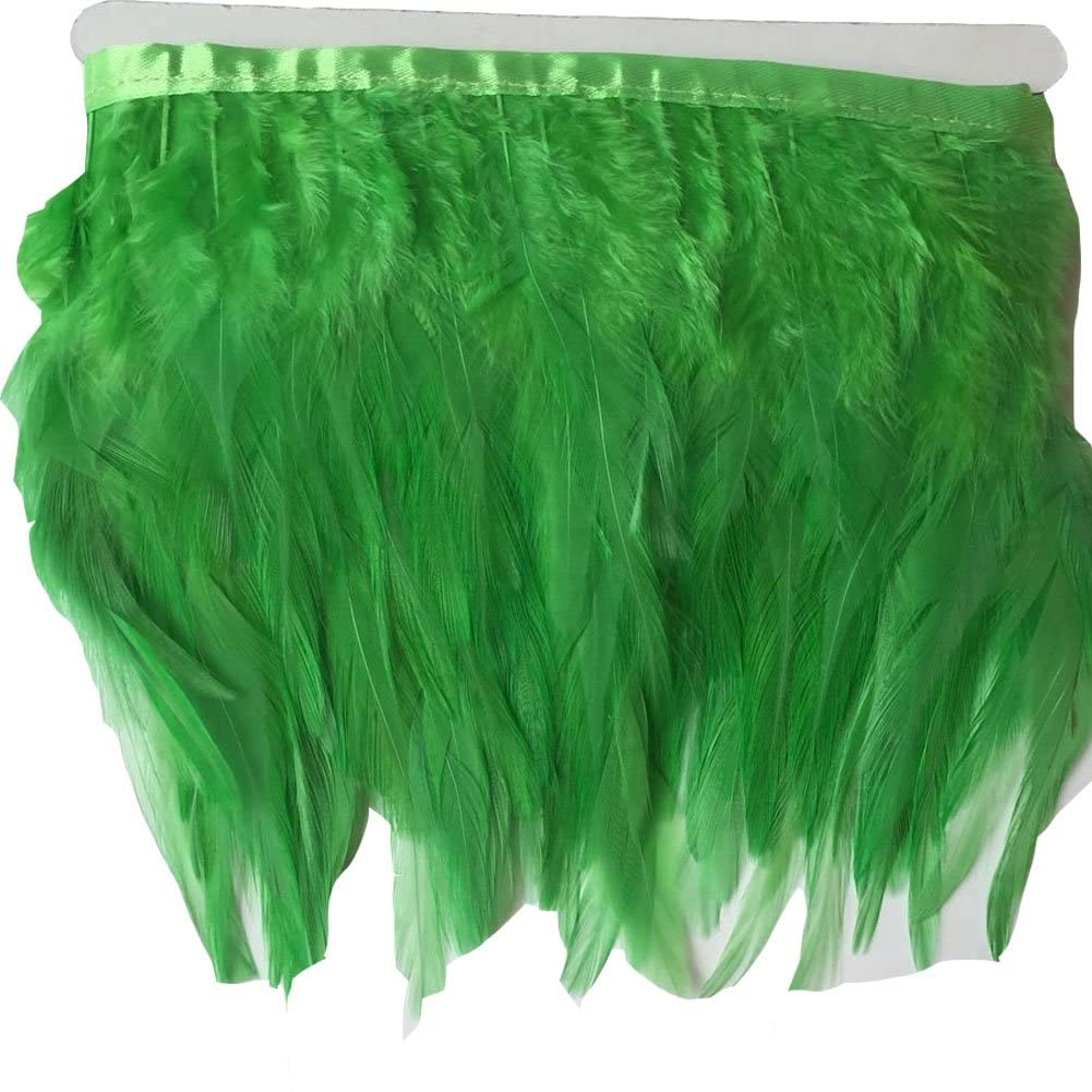 KOLIGHT Pack of 10 Yards Natural Rooster Hackle Feather Trim Fringe 4-6 in Width DIY Decoration (Lime)
