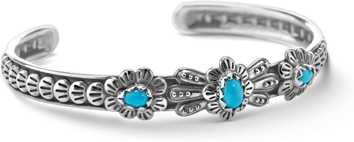 American West Sterling Silver Sleeping Beauty Turquoise Gemstone Flower Concho Design Cuff Bracelet Size S, M or L