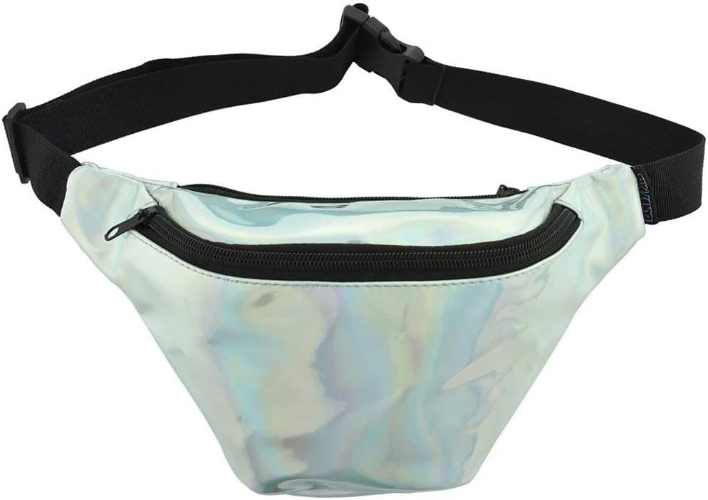 KANDYPACK Holographic Fanny Pack with Hidden Pocket Perfect for Raves and Festivals (Silver)
