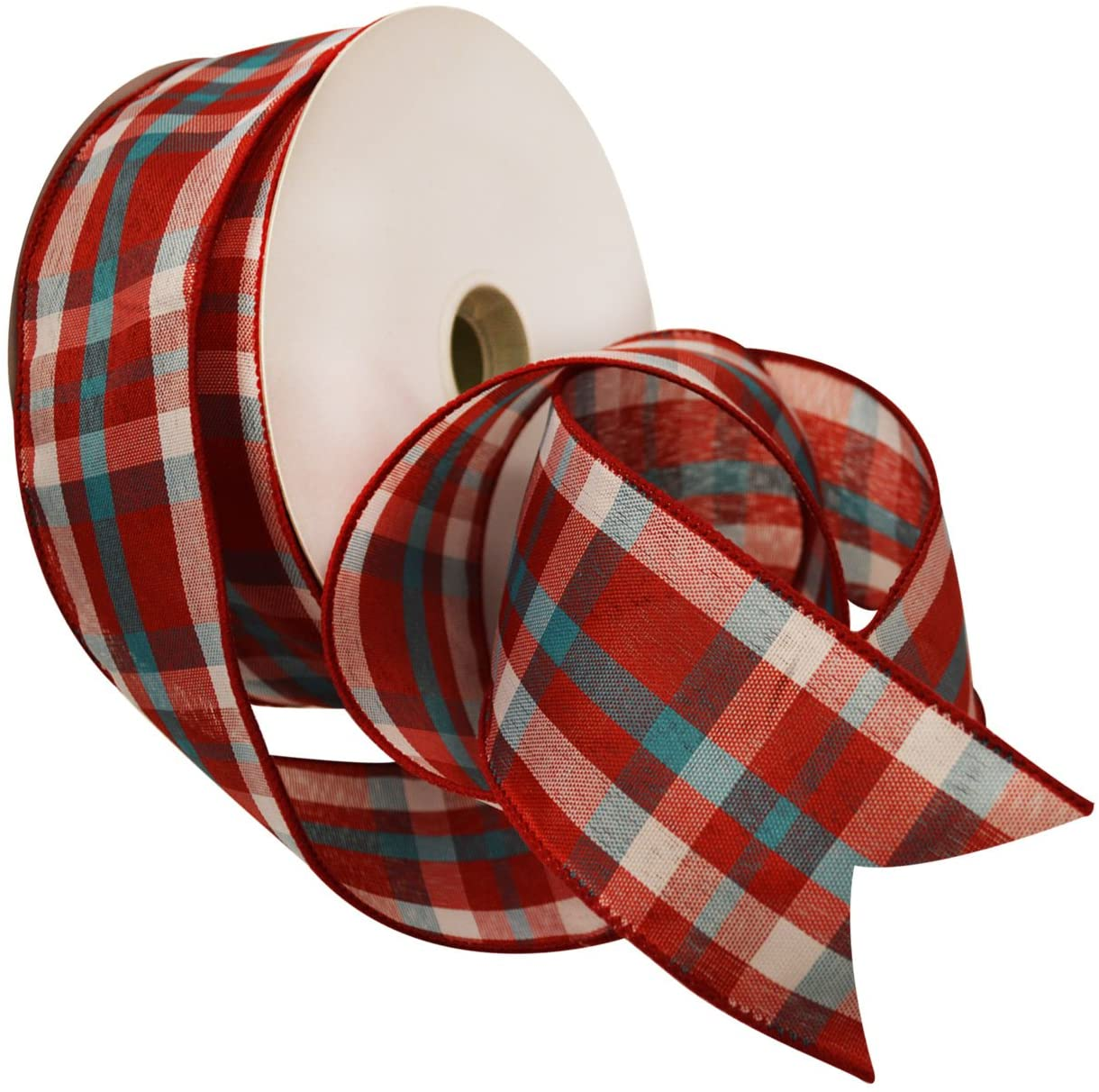 Morex Ribbon Color Chic Plaid Fabric Ribbon, 2.5