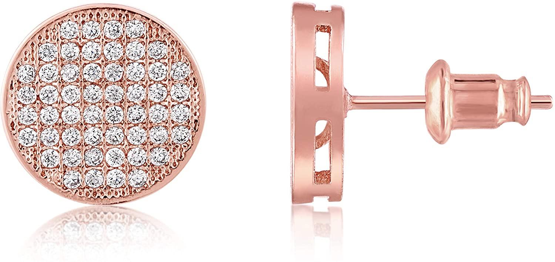 KISPER 18K Gold Plated Cubic Zirconia Pave Disc Stud Earrings