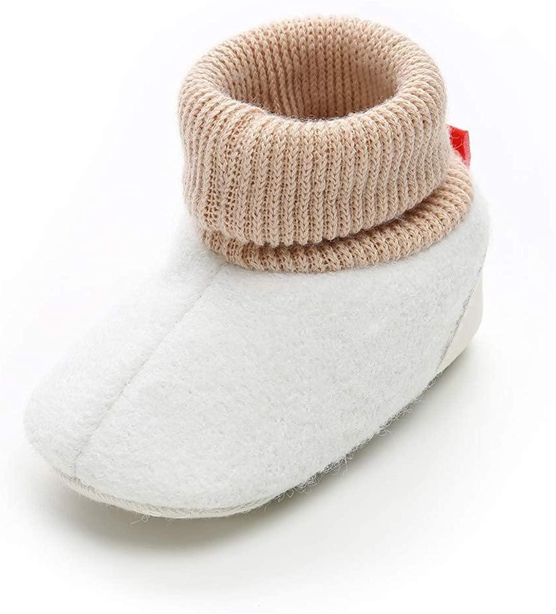Aincanlx Baby Boys Girls Cozy Fleece Booties Non-Slip Bottom Warm Winter Slippers Socks Infant Crib Shoes First Birthday Gift