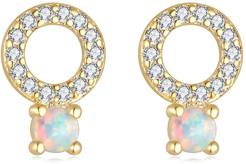 CiNily 14K Gold Plated Stlud Earrings October Birthstone Created Opal Halo/Triangle/Round Shape/Tiny Small Cute Stud Earrings Opal Jewelry Gifts for Women Birthday
