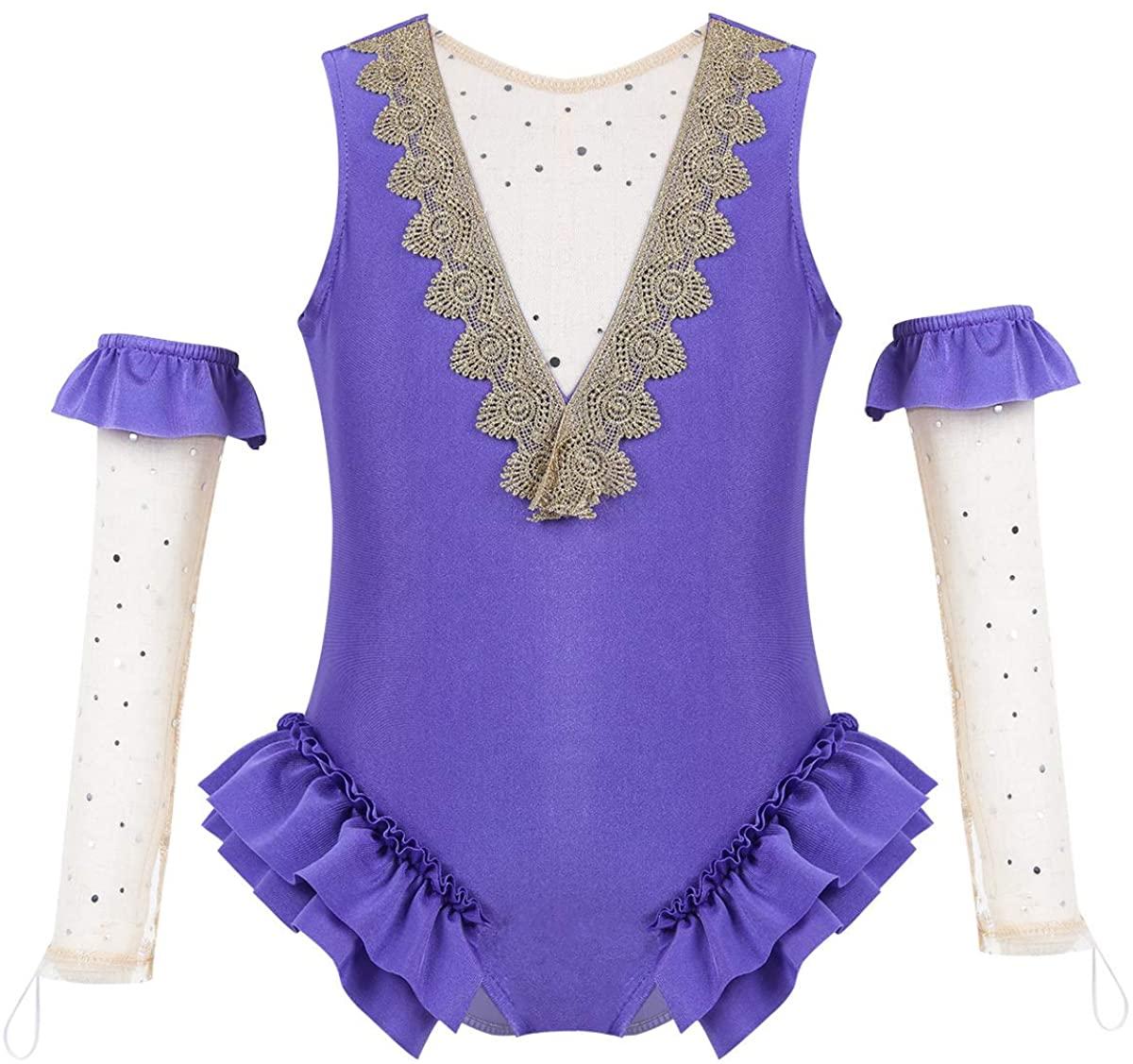 Hularka Kids Girls Dance Show Costume Princess Halloween Cosplay Outfits V-Shape Back Ruffle Leotard with Arm Sleeves