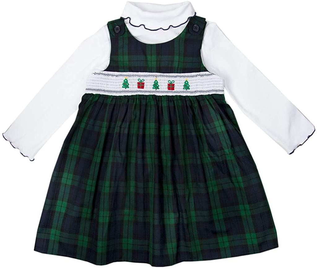 Good Lad Toddler Thru 4/6X Girls Blackwatch Plaid Christmas Holiday Smocked Jumper Set