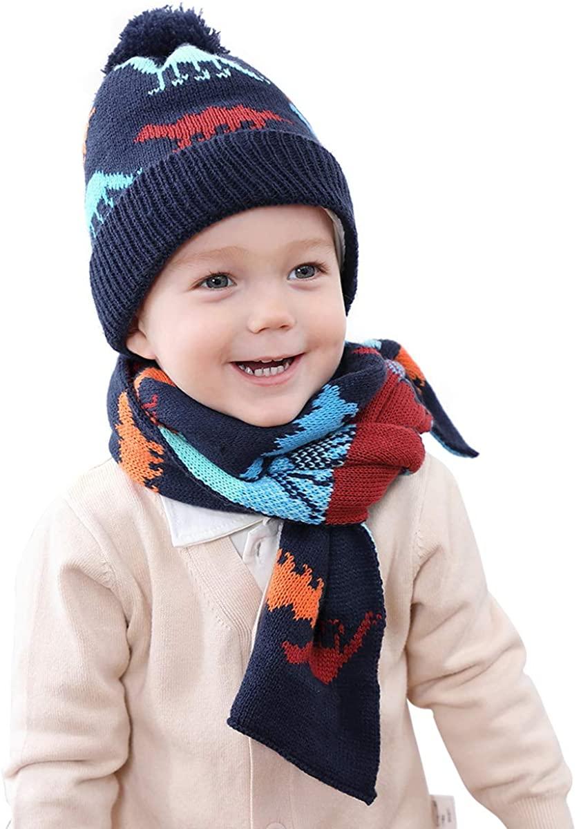 NCONCO 2pcs Kids Boys Girls Hat Scarf Set Children Winter Knitted Warm Hat Neck Warmer for 1-4Y Kids