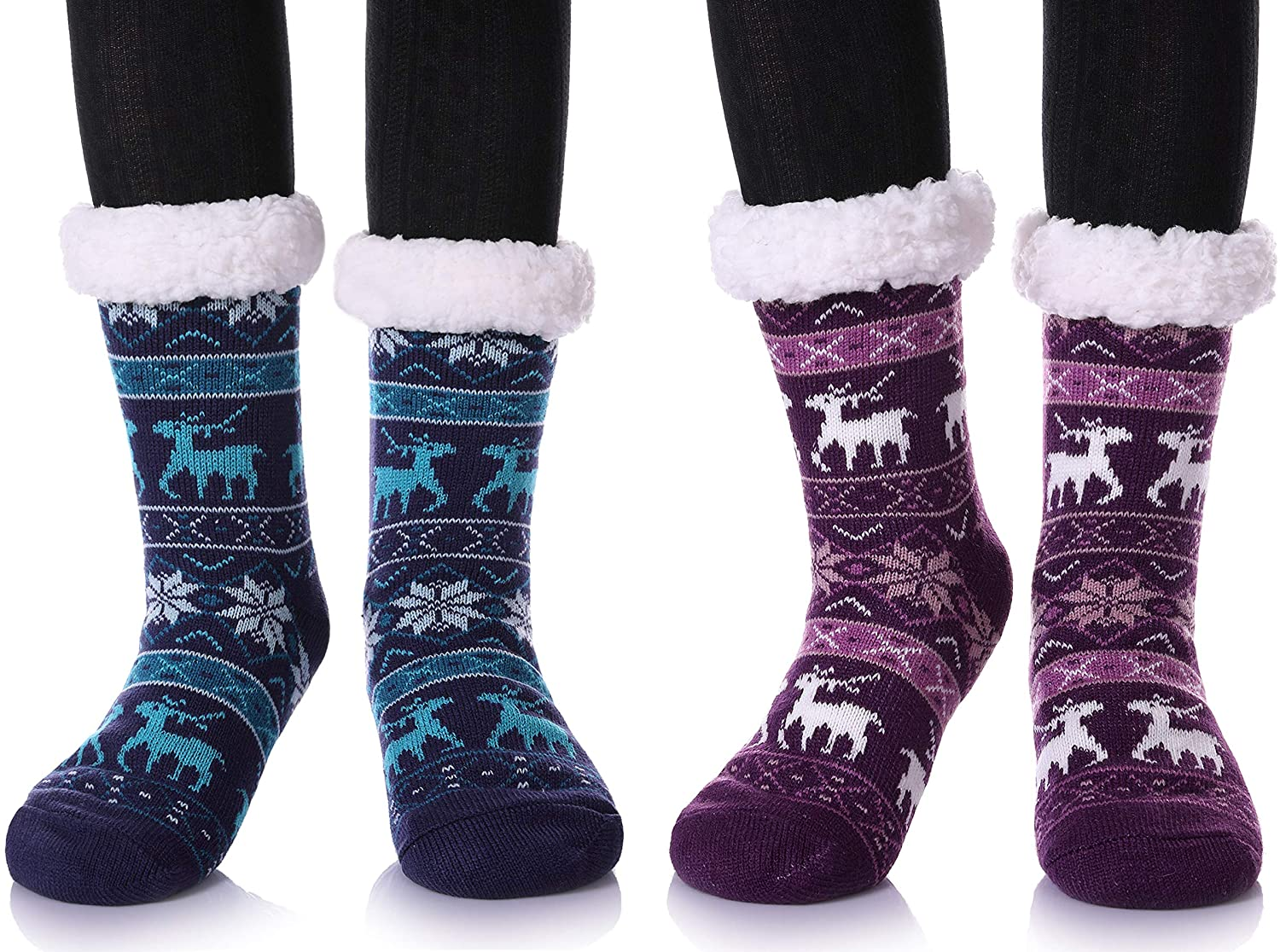 2 Pairs Women's Winter Super Soft Warm Cozy Fuzzy Snowflake Deer Fleece-lined Christmas Gift With Grippers Slipper Socks