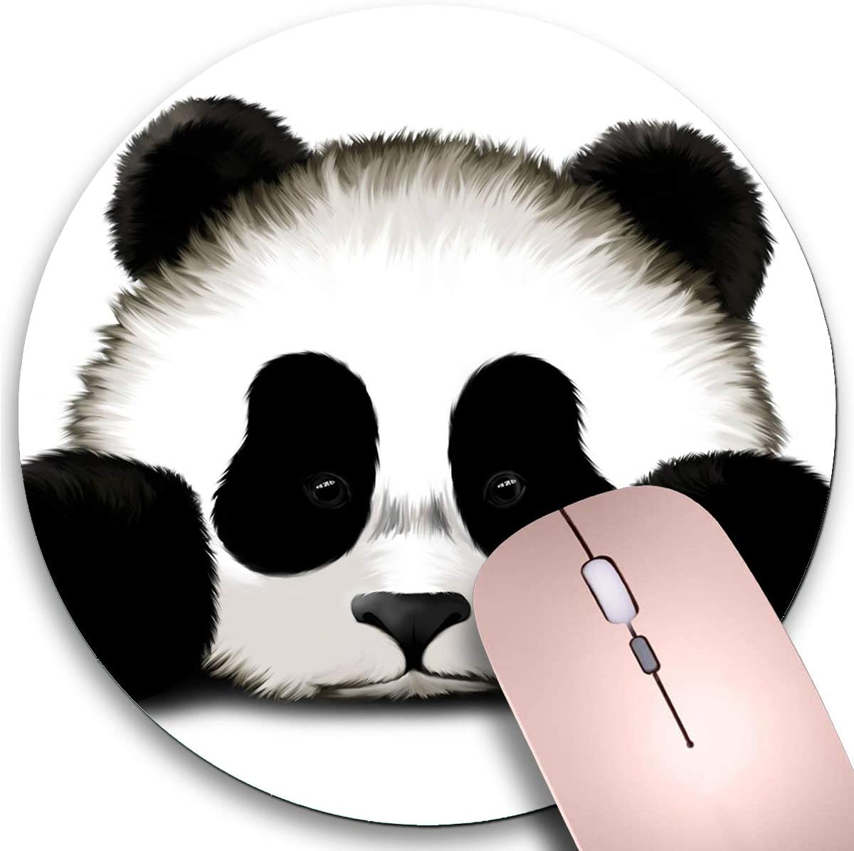 Round Mouse Pad,Cute Panda Non-Slip Rubber Circular Mouse Pads Customized Designed for Home and Office,7.9 x 7.9inch