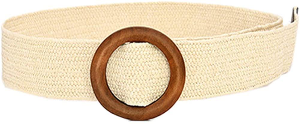 ALAIX Women's Dress Belt Fashion Straw Woven Stretchy Waistband Wood Wide Buckle Belt for Pants Jumpsuit Waist Belt