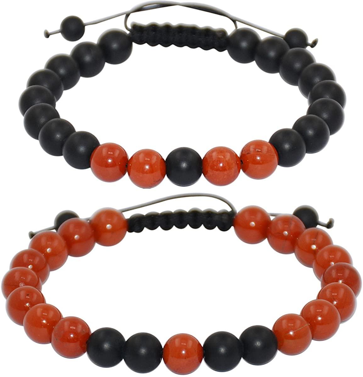 Massive Beads Friendship Relationship Couples Distance Adjustable Round Beads Bracelet Gems& Jewelry Box