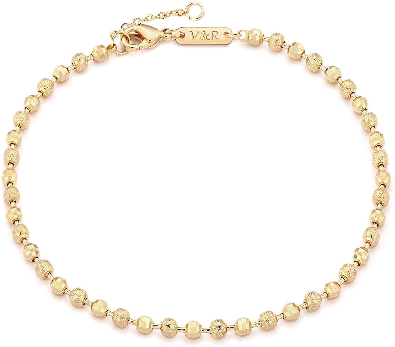 Valloey Rover Dainty Gold Link Chain Bracelet for Women 14K Gold Plated Simple Delicate Bead Cuban Link Bracelet Handmade Minimalist Jewelry