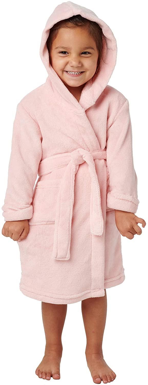 Alexander Del Rossa Kid's Fleece Robe, Small (4) Pink Rose Quartz (A0444RSQSM)
