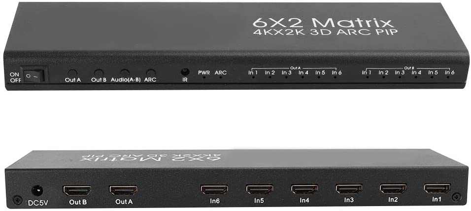 HDMI Matrices 6X2, 4K 30Hz High Definition Switcher Splitter 6 in 2 Out Support ARC Pass Back Function Suitable for Home/Office/Monitoring/Education (US Plug)