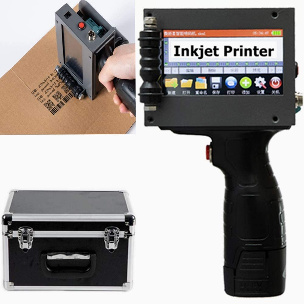 TOPCHANCES Portable Upgraded Handheld Inkjet Printer Gun with 4.3 Inch HD LED Touch Screen and Metal Boxfor Date QR Code Logo Quick Print IY Logo Print on Card Bag Box Ornament Sticker Label