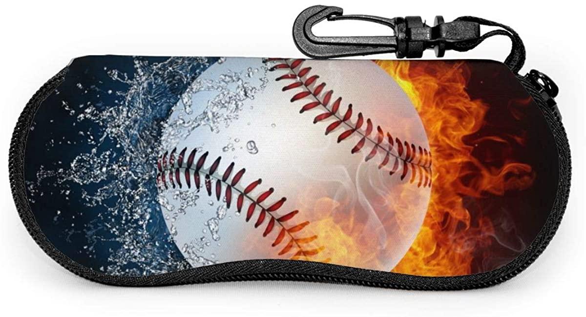 Baseball Ball In Fire And Water Neoprene Soft Eyeglass Case Zipper Sunglasses Case with Belt Clip