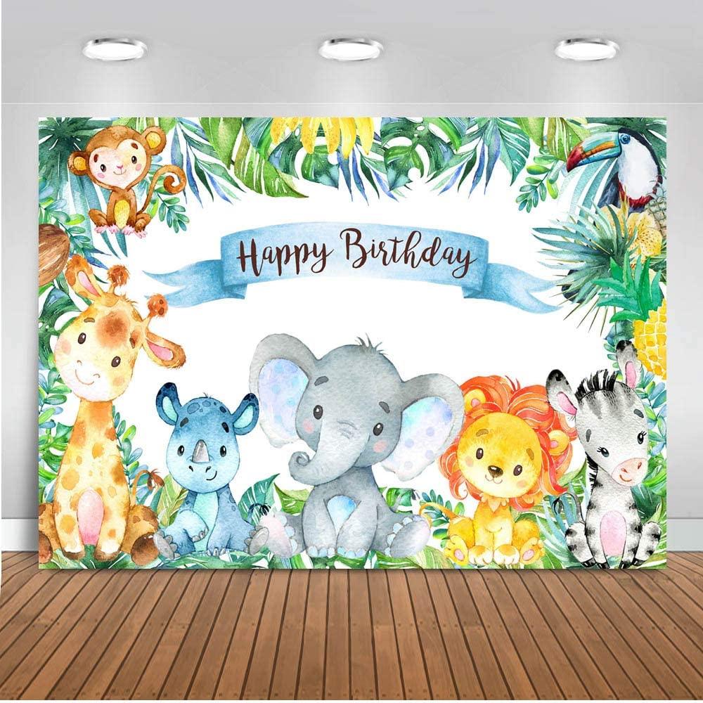 Mocsicka Safari Birthday Party Decorations, 7x5ft Vinyl Fabric Jungle Safari Baby Boy Birthday Backdrop, Wild Animals Tropical Summer Birthday Photography Background