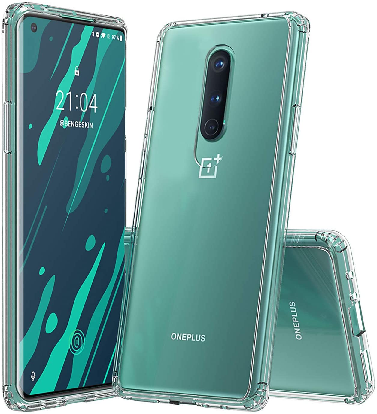 Case for OnePlus 8, Designed for OnePlus 8 Case Made with Hard PC Back and Soft TPU Frame, 360°Comprehensive Protection, Anti-Scratch and Shock Absorption Cover Case. (Transparent, 6.55'')