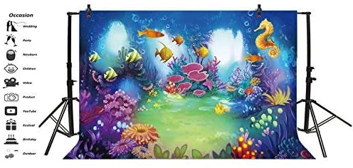 Baocicco 7x5ft Cartoon Underwater World Coral Reef Backdrop Baby Shark Party Vinyl Photography Background Catoon Torpical Fishes Hippocampus Seaweed Children Birthday Party Chirdren Portrait Prop