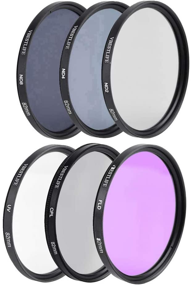 Camera Lens Filter Set, UV + CPL + FLD + ND2 + ND4 + ND8 Filter with Storage Bag and Lens Hood for SLR Camera(82mm)