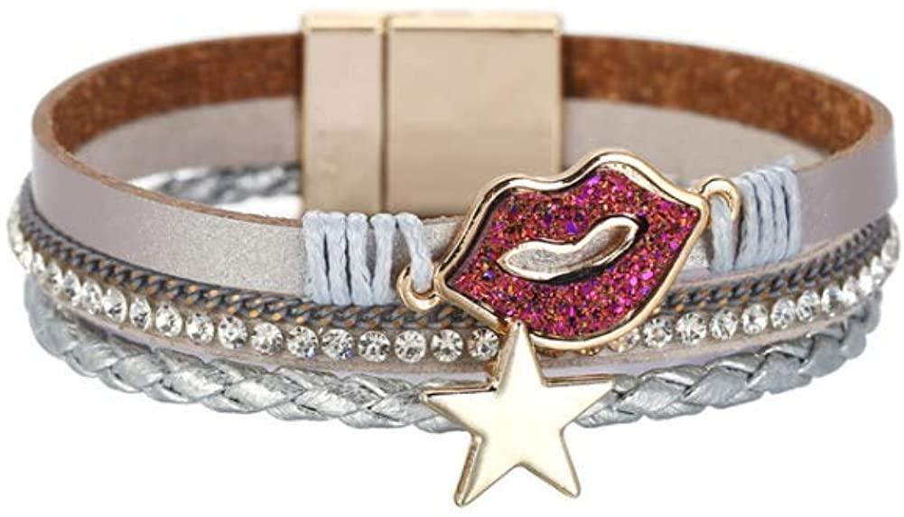 AMVIE Leather Wrap Bracelet Boho Cuff Bracelets Crystal Bead Bracelet with Magnetic Clasp for Women