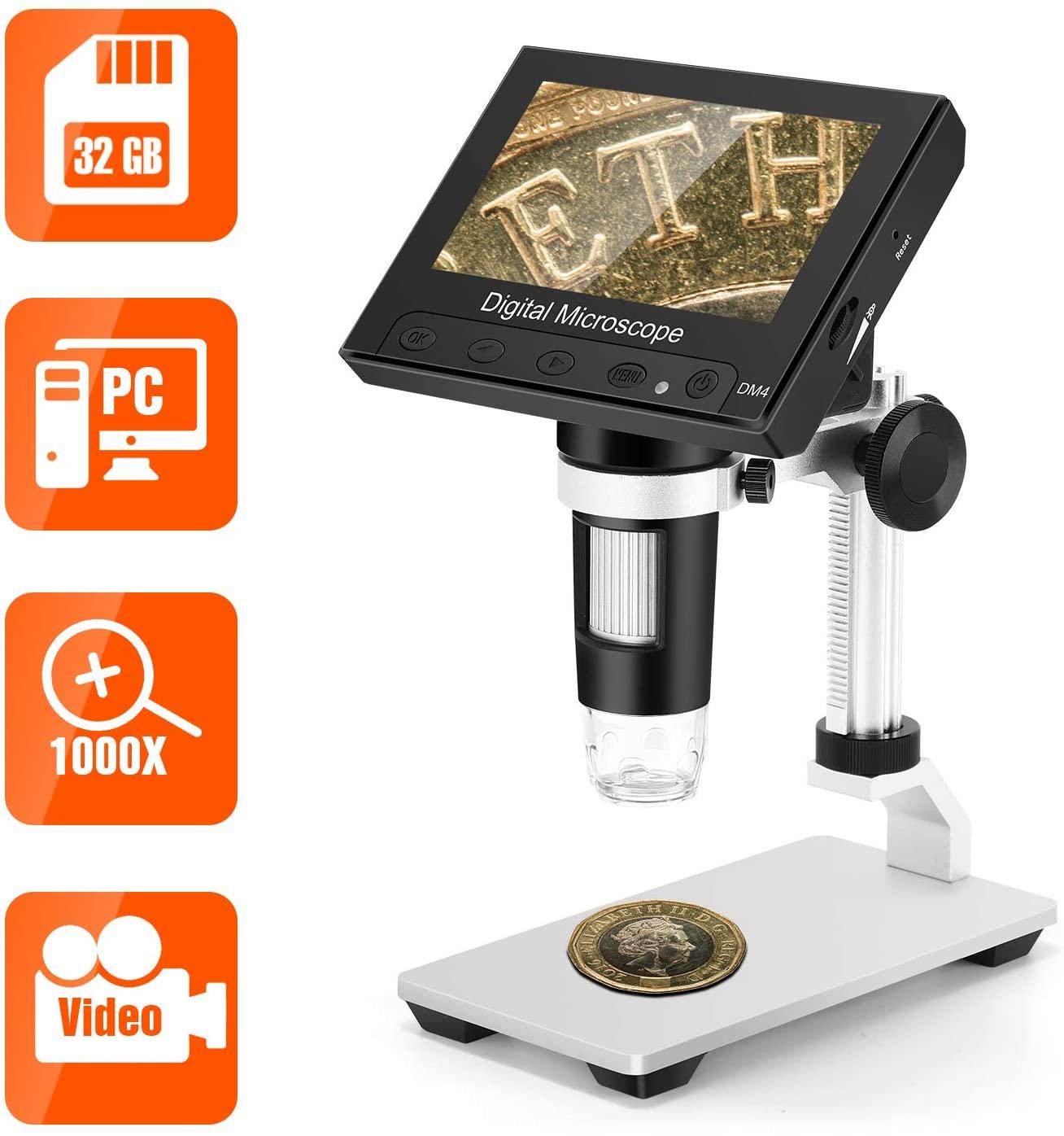 TOMLOV LCD Digital Microscope with 32GB SD Card, 4.3